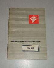 Betriebsanleitung / Teilekatalog Welger Ladewagen EL60 Stand 02/1965
