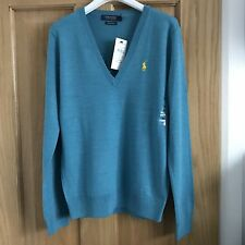 BNWT Ralph Lauren Polo Ladies Merino Wool V Neck Jumper Size M RRP £125