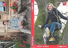 2 Autogramm AK Karl Geiger und Ulrike Gräßler Skisprung Skispringen handsigniert