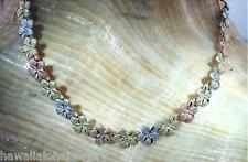 """5.5mm Hawaiian Solid 14k Tri-Color Gold DC Matted Plumeria Flower Anklet 9"""" #1L"""