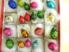 20 TINY Antique Miniature Mini Feather Tree Japan Embossed Glass Xmas Ornaments