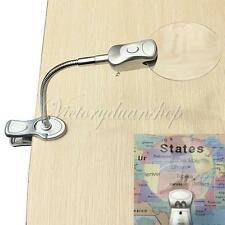 2.5x90MM 4x21MM Flexible 2LED Magnifier Clip-on Desk Table Magnifying Glass Loup