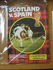 14/11/1984 Scotland v Spain [At Hampden Park] . Item In very good condition unle