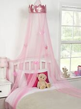 Ideal Textiles Pink Princess Crown Bedroom Bed Canopy Girls Bedroom Makeover ...
