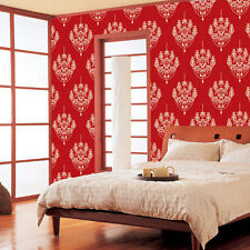 Damask Wallpaper Red Self Adhesive Vinyl Contact Paper Home Decor Wallcovering