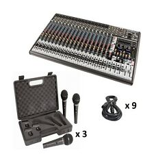 1 Behringer Eurodesk SX2442FX Mixer, 9 Microphones and 9 XLR to XLR Cables