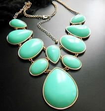 Huge Aqua Blue-Green Cabochon Gold Tone Setting Statement Necklace Jewelry EE8