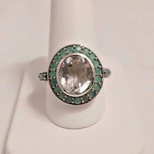STERLING SILVER 4 CT AQUAMARINE & CHRYSOPRASE RING. SIZE 9.25