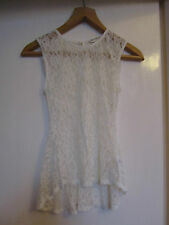 Cream Lacey Sleeveless Stretchy Miss Selfridge Top in Size 6
