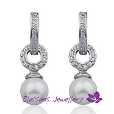 9K 9CT White GOLD GF Wedding Shell PEARL Hoop EARRINGS SWAROVSKI CRYSTAL ES612