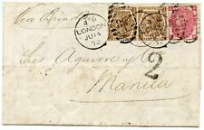 RARE 1872 cover 1871 3d rose pl 7 + pair 1872 6d chestnut pl11  London to MANILA