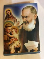St Padre Pio Necklace & Prayer  Gold tone Metal NEW