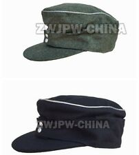 WWII GERMAN  ARMY WH SS OFFICER  M43 GREEN BLACK FIELD COTTON CAP HAT