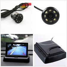 "Car 12V 170° 8LED Reverse Backup Parking Camera + 4.3"" Foldable Monitor Display"