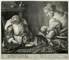 JOHANN JAKOB RIDINGER - Der große Junge schläft - Mezzotinto / Schabkunst 1760