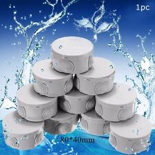 IP44 CCTV Round Electric Junction Box Grommets Cable Waterproof Outdoor 80x40mm