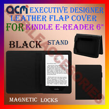 "ACM-DESIGNER EXECUTIVE LEATHER FLIP CASE for KINDLE E-READER 6"" TAB COVER -BLACK"
