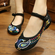Women's Chinese Old Peking Style Phoenix Flower Embroidered Mary Jane Flat Shoes