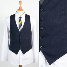 MENS VINTAGE BLUE STRIPED SMART STYLE WAISTCOAT VEST GILET RETRO XS