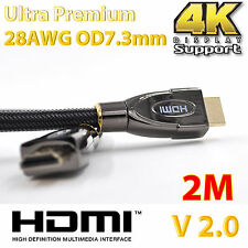 2m Ultra Premium Gold Plated HDMI Cable V2.0 High Speed 3D Audio HD 4K HEC