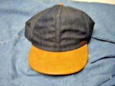 Wrangler Vintage Denim Snapback Hat Cap With Faux Leather Bill