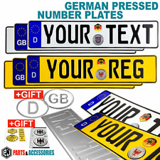 PAIR OBLONG GERMAN METAL PRESSED Embossed Number Plates D-GB-NONE badge +GIFTS