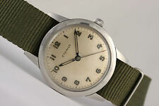 vintage Eterna military watch! Gorgeous! steel 35mm case -manual wind-Swiss made