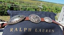 NEW RALPH LAUREN S turquoise leather double wrap concho bracelet brown vachetta
