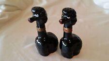 Vintage Black Long Neck Poodles Salt & Pepper Shakers Set Made in Japan