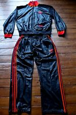 Shiny Black Chile 62 Full Tracksuit with Orange and Red Stripes, Logo & Trefoil.