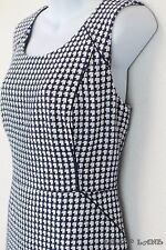 Anne Klein Navy Blue White Tweed Boucle Sheath Dress Handwoven Look Lined 14 NWT
