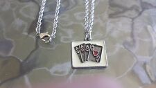 CARD PLAYING POKER 1 FOUR ACES NECKLACE PEWTER CHARM PENDAND ALL NEW.