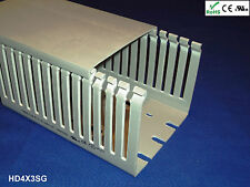 "New 4""x3""x2m High Density Thin Slot Gray Wire Ducts/Cable Raceway & Covers-8 Set"