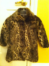 Girls size 4 Leopard faux fur coat