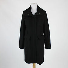 Black wool blend DKNY long sleeve zip and snap up front pocketed coat 8