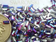 24 x Swarovski 4mm x 2mm Light Siam AB silver-foiled #4501 baguettes