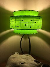 Mid Century Vintage Style Tapered 3 Tier Fiberglass Lamp Shade Modern Atomic GRN