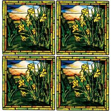 Art Masters TIFFANY DAFFODILS Inspired  COASTERS  Absorbent Set of 4