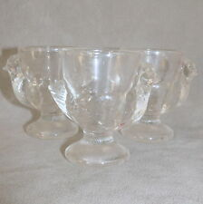 """Tableware Egg Cup FRANCE Glass Clear Chicken Hen 3"""" Replacements Lot of 3"""