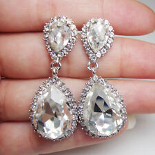Art Deco Bride Wedding Teardrop Earrings Pierced Dangle Clear Rhinestone Crystal