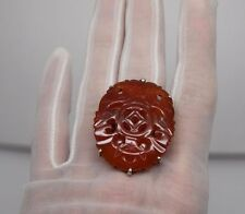 VINTAGE MASSIVE CARVED CHINESE LAMPL SILVER STATEMENT KNUCKLE RING ORIENTAL DECO