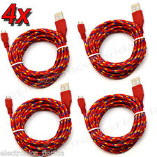 4x 10Ft Red Micro USB Charger Cable Nylon Braided Sync for Samsung Galaxy LG