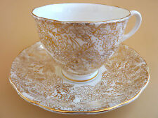 Colclough Tea Cup Saucer Lacy Floral Gold Print Footed England Vtg