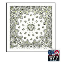 "*USA Made*WHITE w/GOLD GLITTER Paisley BANDANA BANDANNA Wrap Scarve 22"" Cotton"