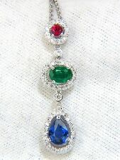 $8000 3.07CT NATURAL SAPPHIRE EMERALD RUBY DIAMOND CLUSTER DANGLE PENDANT 14KT