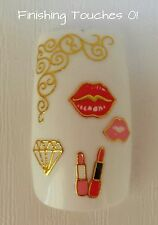 3D Nail Sticker- 3D Lipstick Decal #338 TJ089 Transfer Shiny Metallic Gold Lace