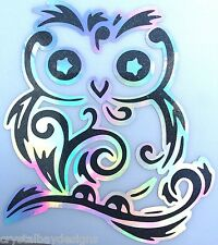 Fancy Swirl Owl BLACK Glitter Holographic Vinyl Car Decal Sticker Laptop 15-91