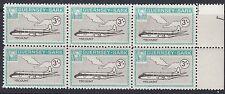 GUERNSEY-SARK COMMODORE: 1966 3/- aircraft -AT SC81 MNH block of 6