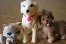 LOT of 3 PETS, 2 BARBIE PET DOGS & 1 LITTLEST PET SHOP CAT