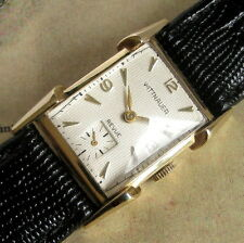 Mens 1950s Longines Wittnauer 14K SOLID GOLD Revue Fancy Dial & Lugs Swiss Watch